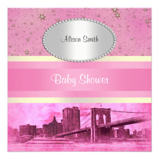 NYC Skyline Brooklyn Bridge Boat 5P Baby Shower Announcements