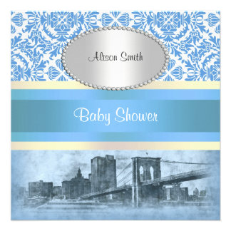 NYC Skyline Brooklyn Bridge Boat 6 Baby Shower Personalized Invite