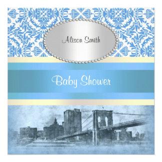 NYC Skyline Brooklyn Bridge Boat 6 Baby Shower Personalized Invite