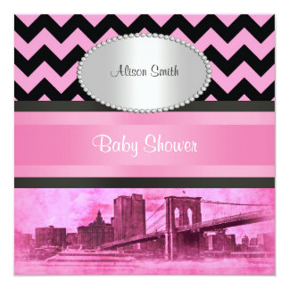 NYC Skyline Brooklyn Bridge Boat 8P Baby Shower Card