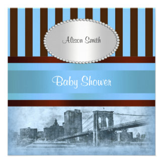 NYC Skyline Brooklyn Bridge Boat 8P Baby Shower Personalized Invite