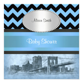 NYC Skyline Brooklyn Bridge Boat 9P Baby Shower Personalized Invite