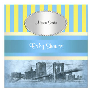 NYC Skyline Brooklyn Bridge Boat 9P Baby Shower Personalized Announcement
