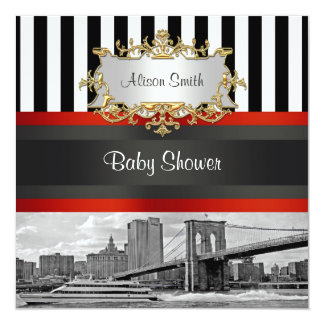 NYC Skyline Brooklyn Bridge Boat Baby Shower Invit Card