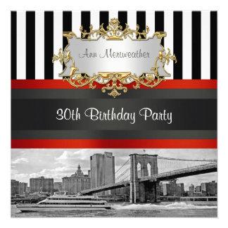 NYC Skyline Brooklyn Bridge Boat Birthday Invite