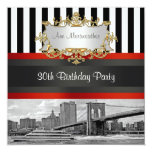 "NYC Skyline Brooklyn Bridge, Boat Birthday Invite 5.25"" Square Invitation Card"