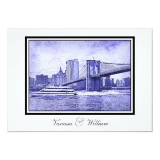 NYC Skyline Brooklyn Bridge Boat Blu Etchd Wedding Card