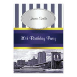 "NYC Skyline Brooklyn Bridge Boat Blue Wt2 Birthday 5"" X 7"" Invitation Card"