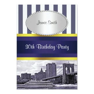 NYC Skyline Brooklyn Bridge Boat Blue Wt2 Birthday 5x7 Paper Invitation Card