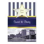 NYC Skyline Brooklyn Bridge Boat Blue Wt4 Sweet 16 Custom Invitations