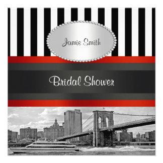 NYC Skyline Brooklyn Bridge Boat Bridal Shower Personalized Invitations