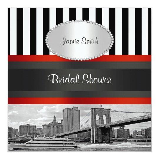 nyc skyline brooklyn bridge boat bridal shower invitation