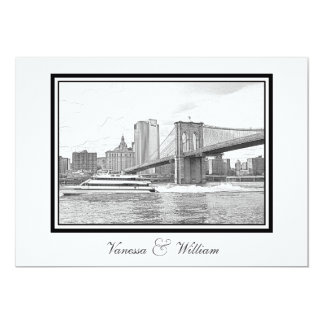 NYC Skyline Brooklyn Bridge Boat BW Etchd Wedding Card