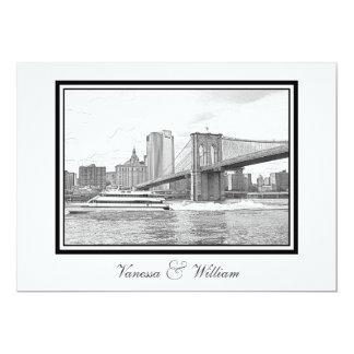 NYC Skyline Brooklyn Bridge Boat BW Etchd Wedding Card