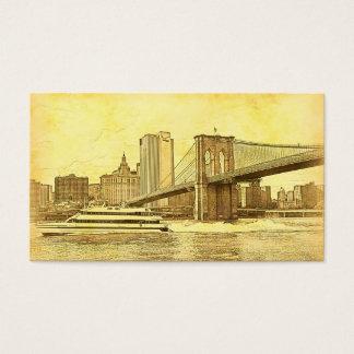 NYC Skyline Brooklyn Bridge Boat Etched Look #1 Business Card