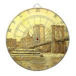 NYC Skyline Brooklyn Bridge Boat Etched Look #1 Dart Boards