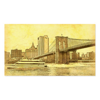 NYC Skyline Brooklyn Bridge Boat Etched Look #1 Double-Sided Standard Business Cards (Pack Of 100)