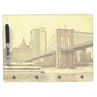 NYC Skyline Brooklyn Bridge Boat Etched Look #1 Dry Erase Board With Keychain Holder
