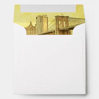 NYC Skyline Brooklyn Bridge Boat Etched Look #1 Envelope