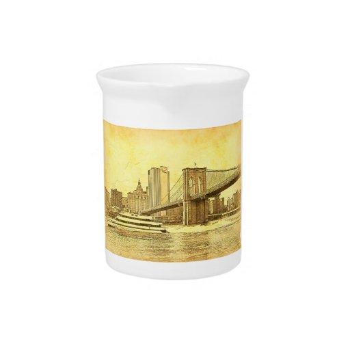 NYC Skyline Brooklyn Bridge Boat Etched Look #1 Beverage Pitchers