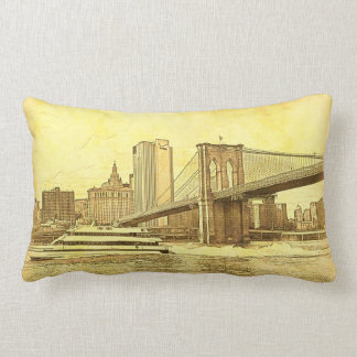 NYC Skyline Brooklyn Bridge Boat Etched Look #1 Throw Pillow