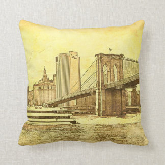 NYC Skyline Brooklyn Bridge Boat Etched Look #1 Throw Pillow