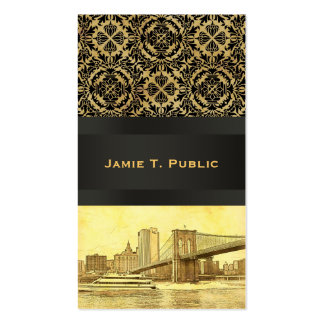 NYC Skyline Brooklyn Bridge Boat Etched Look #1B Double-Sided Standard Business Cards (Pack Of 100)