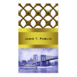 NYC Skyline Brooklyn Bridge Boat Etched Look #2 Business Cards