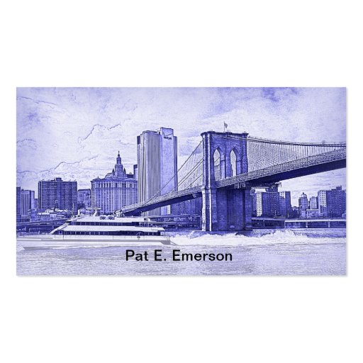NYC Skyline Brooklyn Bridge Boat Etched Look #2 Business Card