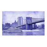 NYC Skyline Brooklyn Bridge Boat Etched Look #2 Business Card Template