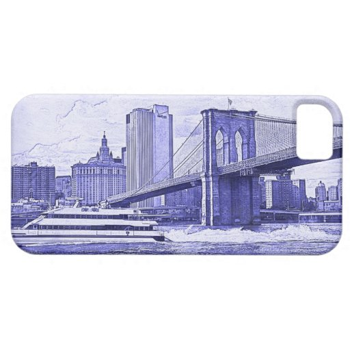 NYC Skyline Brooklyn Bridge Boat Etched Look #2 iPhone 5 Covers