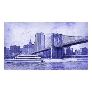 NYC Skyline Brooklyn Bridge Boat Etched Look #2 Double-Sided Standard Business Cards (Pack Of 100)