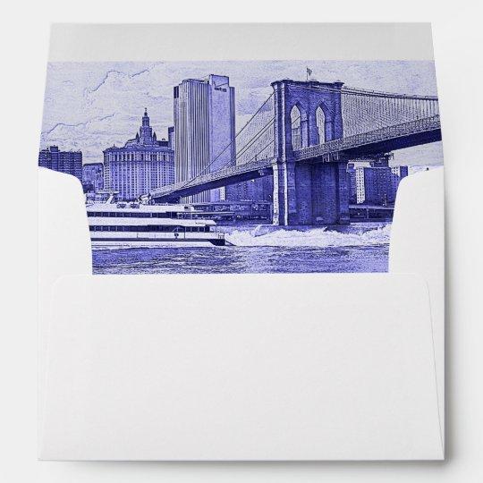 NYC Skyline Brooklyn Bridge Boat Etched Look #2 Envelope