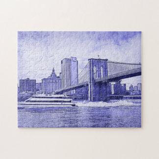 NYC Skyline Brooklyn Bridge Boat Etched Look #2 Jigsaw Puzzle