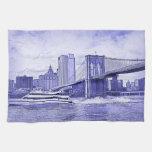NYC Skyline Brooklyn Bridge Boat Etched Look #2 Towel