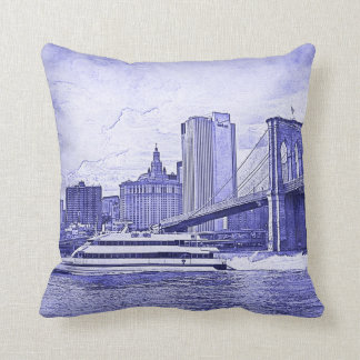 NYC Skyline Brooklyn Bridge Boat Etched Look #2 Throw Pillow