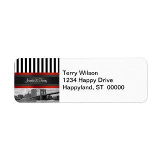 NYC Skyline Brooklyn Bridge Boat Return Address Return Address Label