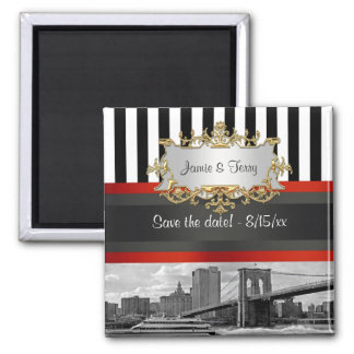 NYC Skyline Brooklyn Bridge, Boat Save the Date 2 Inch Square Magnet