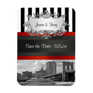 NYC Skyline Brooklyn Bridge Boat Save the Date Magnet