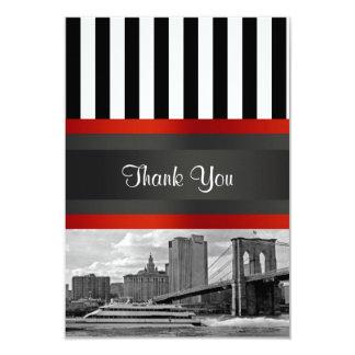 NYC Skyline Brooklyn Bridge Boat Thank You Card