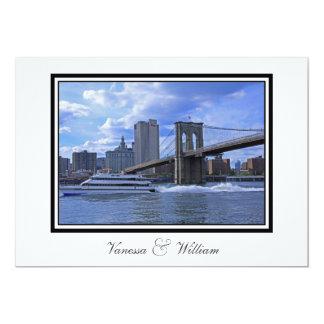 NYC Skyline Brooklyn Bridge Boat Wedding Card
