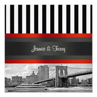 NYC Skyline Brooklyn Bridge, Boat Wedding Invite