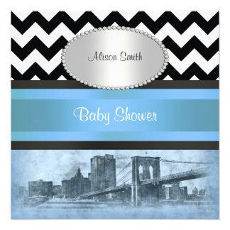 NYC Skyline Brooklyn Bridge BW Blu P Baby Shower Personalized Announcements
