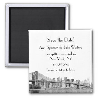 NYC Skyline Brooklyn Bridge Etched Save the Date Magnet