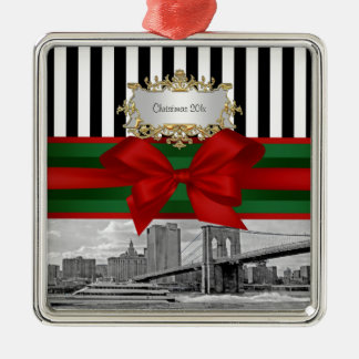 NYC Skyline Brooklyn Bridge Xmas Blk Wht Strp #2 Metal Ornament