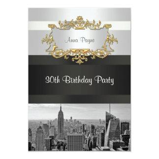 NYC Skyline BW 05 White, Black Birthday Invite
