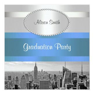 NYC Skyline BW 05 White Blue 2 Graduation Invite