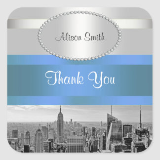 NYC Skyline BW 05 White Blue 2 Thank You Square Sticker