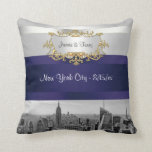 NYC Skyline BW 05 White Navy Blue Invite Suite Pillows