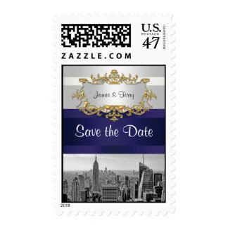 NYC Skyline BW 05 White Navy Blue Save the Date Postage
